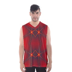 Impressive Red Fractal Men s Basketball Tank Top