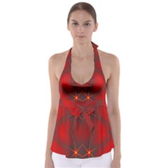 Impressive Red Fractal Babydoll Tankini Top