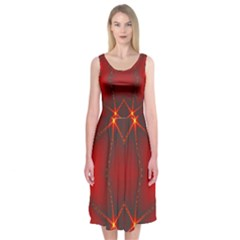 Impressive Red Fractal Midi Sleeveless Dress