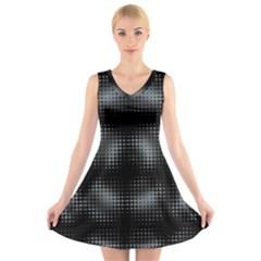Circular Abstract Blend Wallpaper Design V-Neck Sleeveless Skater Dress