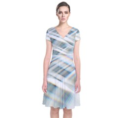 Business Background Abstract Short Sleeve Front Wrap Dress