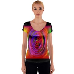 Colors Of My Life Women s V-Neck Cap Sleeve Top