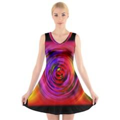 Colors Of My Life V Neck Sleeveless Skater Dress