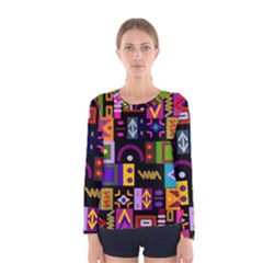 Abstract A Colorful Modern Illustration Women s Long Sleeve Tee