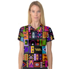 Abstract A Colorful Modern Illustration Women s V Neck Sport Mesh Tee