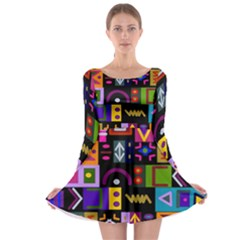 Abstract A Colorful Modern Illustration Long Sleeve Skater Dress