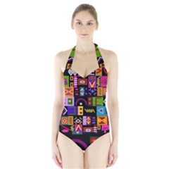 Abstract A Colorful Modern Illustration Halter Swimsuit