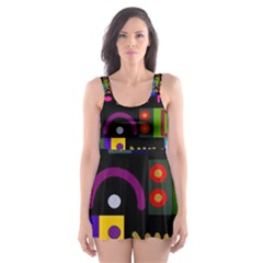 Abstract A Colorful Modern Illustration Skater Dress Swimsuit