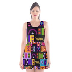 Abstract A Colorful Modern Illustration Scoop Neck Skater Dress