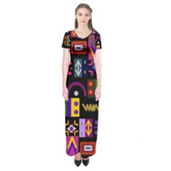 Abstract A Colorful Modern Illustration Short Sleeve Maxi Dress
