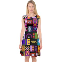 Abstract A Colorful Modern Illustration Capsleeve Midi Dress
