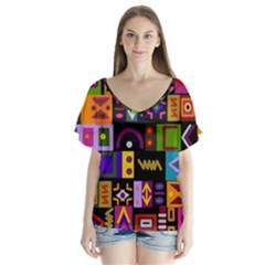 Abstract A Colorful Modern Illustration Flutter Sleeve Top