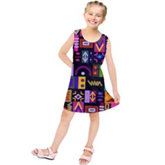 Abstract A Colorful Modern Illustration Kids  Tunic Dress