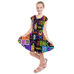 Abstract A Colorful Modern Illustration Kids  Short Sleeve Dress