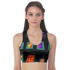 Abstract A Colorful Modern Illustration Sports Bra