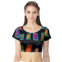 Abstract A Colorful Modern Illustration Short Sleeve Crop Top (Tight Fit)