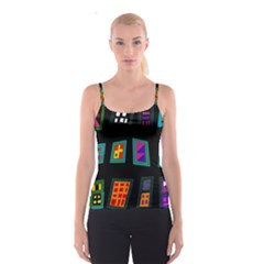 Abstract A Colorful Modern Illustration Spaghetti Strap Top
