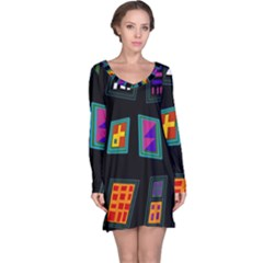 Abstract A Colorful Modern Illustration Long Sleeve Nightdress