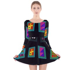 Abstract A Colorful Modern Illustration Long Sleeve Velvet Skater Dress