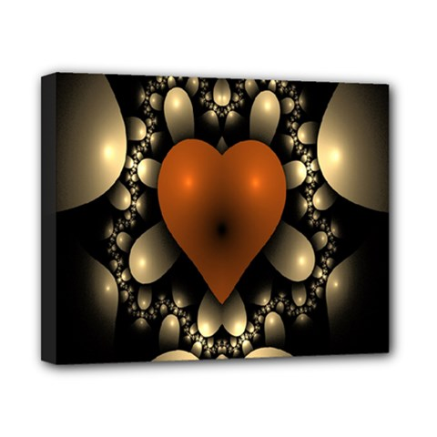 Fractal Of A Red Heart Surrounded By Beige Ball Canvas 10  X 8