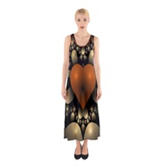 Fractal Of A Red Heart Surrounded By Beige Ball Sleeveless Maxi Dress