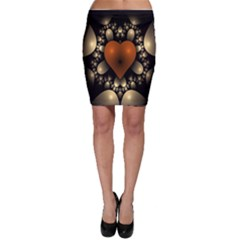 Fractal Of A Red Heart Surrounded By Beige Ball Bodycon Skirt