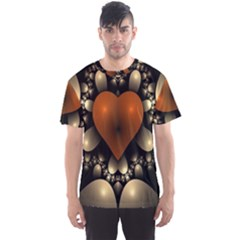 Fractal Of A Red Heart Surrounded By Beige Ball Men s Sport Mesh Tee