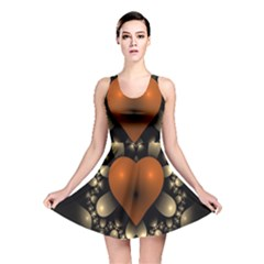 Fractal Of A Red Heart Surrounded By Beige Ball Reversible Skater Dress