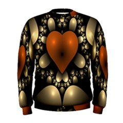 Fractal Of A Red Heart Surrounded By Beige Ball Men s Sweatshirt