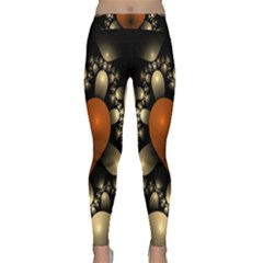 Fractal Of A Red Heart Surrounded By Beige Ball Classic Yoga Leggings