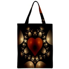 Fractal Of A Red Heart Surrounded By Beige Ball Zipper Classic Tote Bag