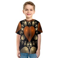 Fractal Of A Red Heart Surrounded By Beige Ball Kids  Sport Mesh Tee