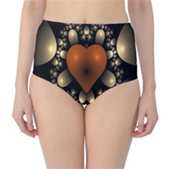 Fractal Of A Red Heart Surrounded By Beige Ball High Waist Bikini Bottoms