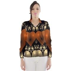 Fractal Of A Red Heart Surrounded By Beige Ball Wind Breaker (women)