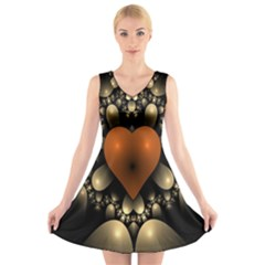 Fractal Of A Red Heart Surrounded By Beige Ball V Neck Sleeveless Skater Dress