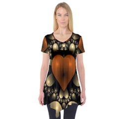 Fractal Of A Red Heart Surrounded By Beige Ball Short Sleeve Tunic