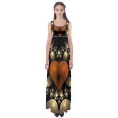 Fractal Of A Red Heart Surrounded By Beige Ball Empire Waist Maxi Dress