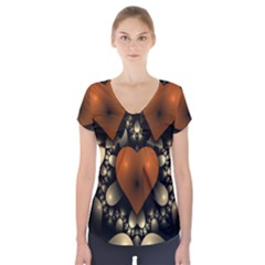 Fractal Of A Red Heart Surrounded By Beige Ball Short Sleeve Front Detail Top
