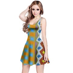 Abstract A Colorful Modern Illustration Reversible Sleeveless Dress