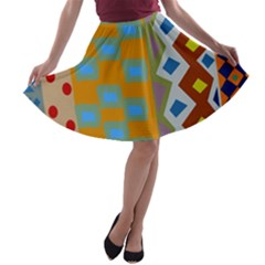 Abstract A Colorful Modern Illustration A Line Skater Skirt