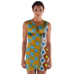 Abstract A Colorful Modern Illustration Wrap Front Bodycon Dress