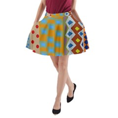 Abstract A Colorful Modern Illustration A Line Pocket Skirt