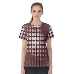 Technical Background With Circles And A Burst Of Color Women s Cotton Tee