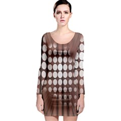 Technical Background With Circles And A Burst Of Color Long Sleeve Bodycon Dress