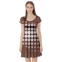 Technical Background With Circles And A Burst Of Color Short Sleeve Skater Dress