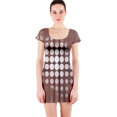Technical Background With Circles And A Burst Of Color Short Sleeve Bodycon Dress