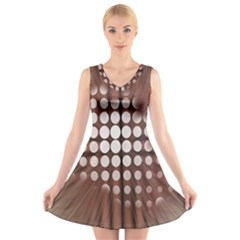 Technical Background With Circles And A Burst Of Color V Neck Sleeveless Skater Dress