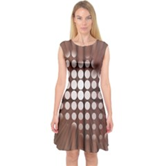Technical Background With Circles And A Burst Of Color Capsleeve Midi Dress