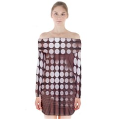 Technical Background With Circles And A Burst Of Color Long Sleeve Off Shoulder Dress