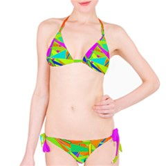 Background With Colorful Triangles Bikini Set